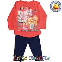 Турецкие детские костюмы коралловая туника и лосины для девочек от 1 до 4 лет (4464-3)