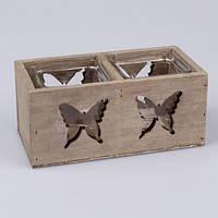 Подсвечник стеклянный Бабочка VN3882S