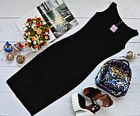 Молодежное платье миди-майка вискоза черное