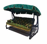 Садовая диван-качеля с тентом, раскладная Spring-Swing Barokko Green-Gold