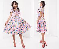 Женское Платье с коротким рукавом лен