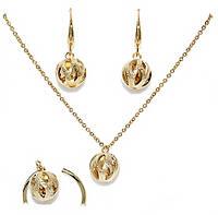 Набор женский: серьги, кольцо 18 р., кулон, цепочка 39-44 см. Позолота 18 К.