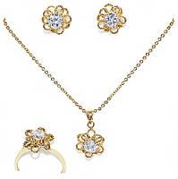 Набор женский: серьги, кольцо 18 р., кулон, цепочка 40-45 см. Позолота 18 К. Камень: циркон.