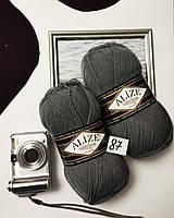 Турецкая пряжа для вязания  Alize  SUPERLANA KLASİK (Суперлана классик)   25% шерсти 87 угольно - серый