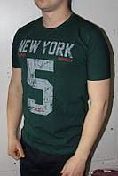 Темно-зеленая Мужская Футболка Турция молодёжная приталенная NEW YORK