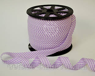 Косая бейка из хлопка для окантовки с тонкой фиолетовой полоской