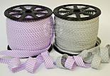 Косая бейка из хлопка для окантовки с тонкой фиолетовой полоской, фото 3