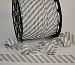 Косая бейка из хлопка с серой полоской 5 мм для окантовки, фото 3