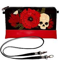 Красная сумка клатч с принтом Череп с цветами