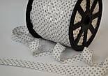 Косая бейка из хлопка с серым горошком 2 мм на белом фоне, фото 3