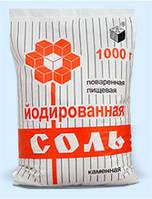 Соль каменная фас. в п/э пакет по 1 кг йодированная