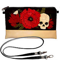 Бежевая сумка клатч с принтом Череп с цветами