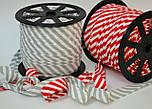 Косая бейка из хлопка с красной полоской 5 мм для окантовки, фото 4