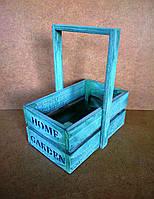 Ящик (кашпо) с ручкой под цветы, светло-зеленый, 13,5х20х25 см, фото 1