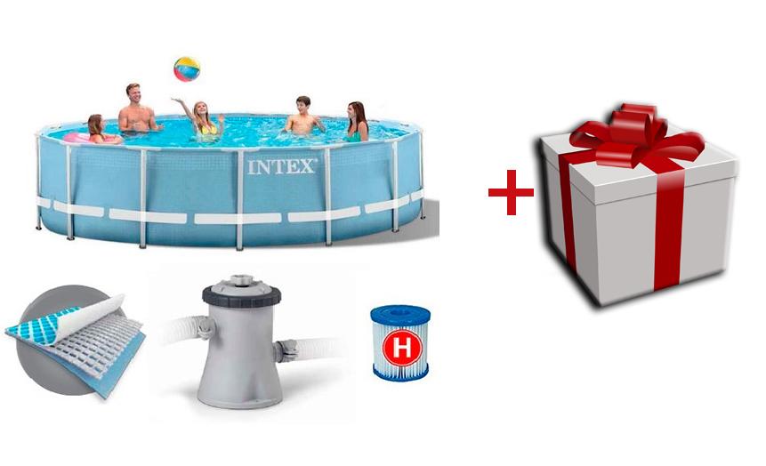 Надувной каркасный бассейн + насос фильтр Intex 28702, 305*76см