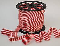 Косая бейка из хлопка для окантовки в тонкую красную полоску