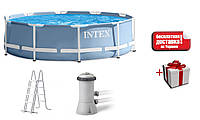 Комплект каркасный бассейн + насос + лестница Intex 28718 366*98 см