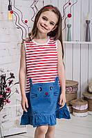 Сарафан  для девочки кошечка полоска красная, фото 1
