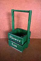 Ящик-кашпо с ручкой под цветы, зеленый, 13,5х12х25 см, фото 1