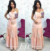 Платье женское в пол персиковое ЕФ/-187