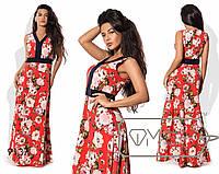 Платье полуприталенное из софта без рукавов с расклешённой юбкой размер 42,44,46