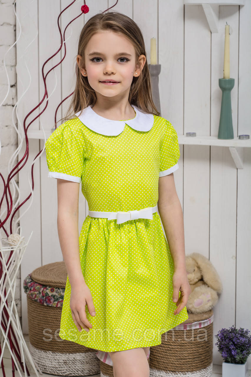 Платье детское школьное Зеленое