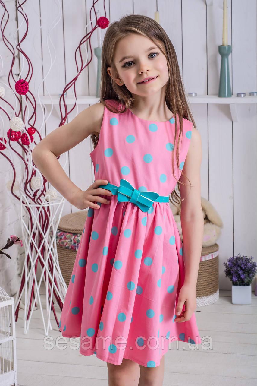 Платье для девочки летнее в горошек Мятный Горошек