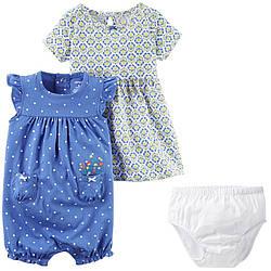 Набор: платье с трусиками и песочник Carters (Картерс) (6М,9М,12М,18М)