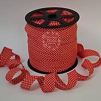 Косая бейка из хлопка  для окантовки с белыми точками на красном фоне