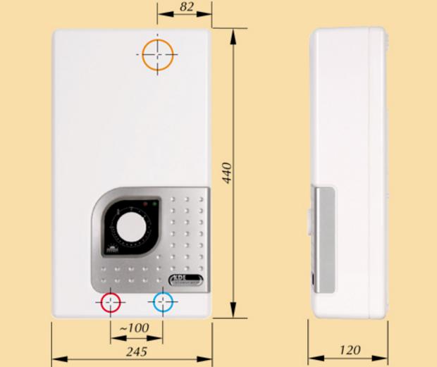 Габаритные размеры водонагревателя Kospel Bonus KDE 27