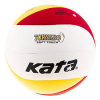 Мяч волейбольный клееный Kata Tornado PU + сетка волейбольная с тросом VN-2