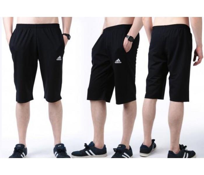 Бриджи мужские спортивные в стиле Adidas (Адидас) темно-синие трикотажные (большие размеры)