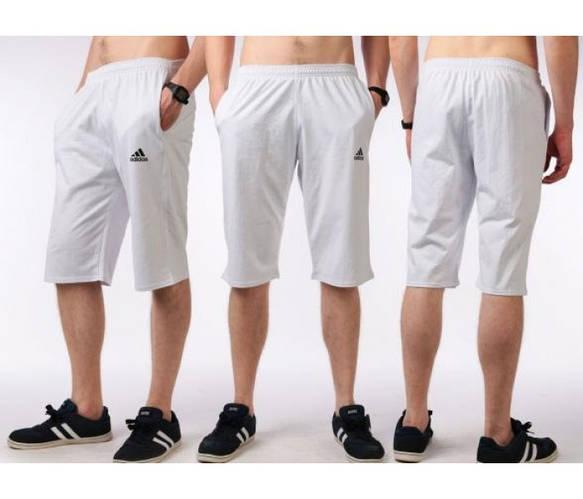 Бриджи мужские спортивные Adidas (Адидас) белые трикотажные (большие размеры)