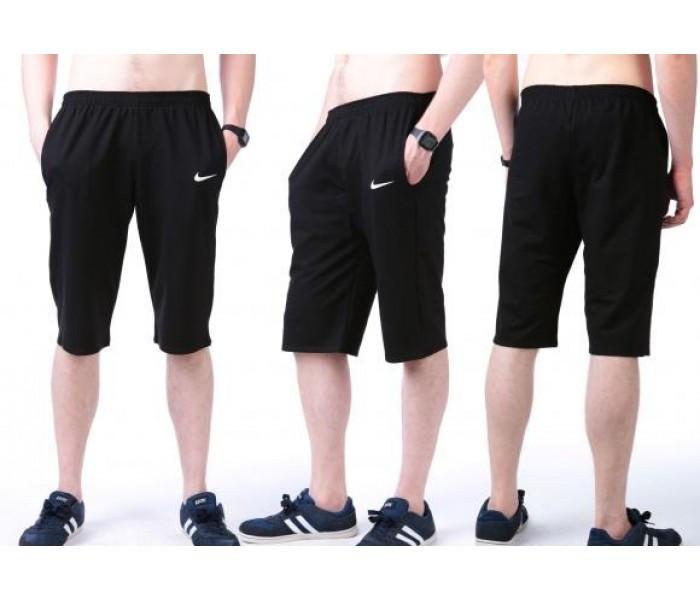 Бриджи мужские спортивные в стиле Найк (Nike) черные трикотажные (большие размеры)