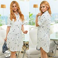 Летнее платье-рубашка белого цвета с рисунком. Модель 13808.