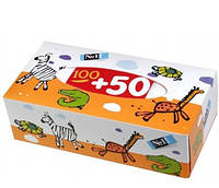 Салфетки бумажные Bella универсальные двухслойные Зоопарк 100+50 шт