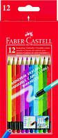 Цветные карандаши Faber-Castell 12 цветов с цветным ластиком картонная коробка 116612