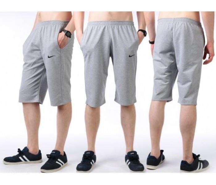 Бриджи мужские спортивные в стиле Найк (Nike) серые трикотажные (большие размеры)