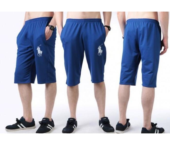 Бриджи мужские спортивные синие летние трикотажные (большие размеры)