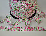 Косая бейка из хлопка с цветочками в розовых оттенках на белом фоне, ширина 18 мм., фото 2