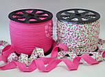 Косая бейка из хлопка с цветочками в розовых оттенках на белом фоне, ширина 18 мм., фото 3