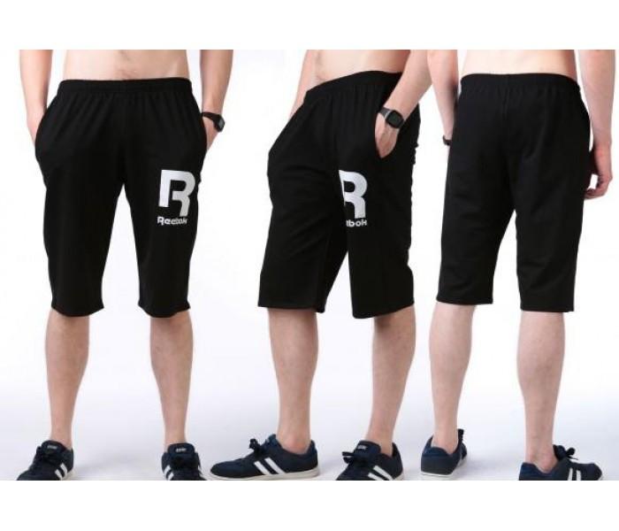 Бриджи мужские спортивные в стиле Reebok (Рибок) черные трикотажные (большие размеры)