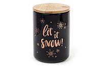 """Банка фарфоровая с бамбуковой крышкой """"Снег идет!"""" черная с золотом,  725 мл"""