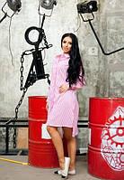 Женское платье рубашка розового цвета до колена