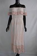 Шикарное длинное платье с оборками Италия