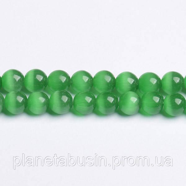 8 мм Зелёный Кошачий Глаз, CN293, Форма: Шар, Отверстие: 1мм, кол-во: 47-48 шт/нить