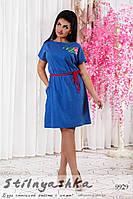 Свободное льняное платье для полных индиго