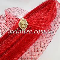Регилин, 4,5 см, гофро, цвет красный с красной люрексовой  сеткой