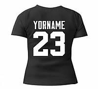 Футболка именная с надписью и цифрами, приталенная, черная с белым принтом Classic