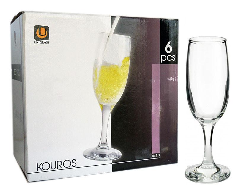 Набор бокалов стеклянных для шампанского 190мл. KOUROS 6 шт.